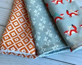Set of 3 Modern Cotton Burp cloths Grey and Orange Unisex Pattern