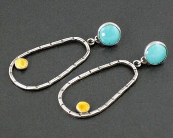 Turquoise Spiny Oyster Shell Hoop Earrings, orange blue silver, boho, bohemian, hoop earrings, sterling silver, post earrings, michele grady