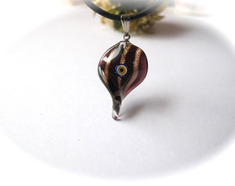 Black and Golden Brown Twisted & Striped Leaf  Evil Eye Pendant Necklace