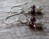 Labradorite Garnet Earrings, Gemstone Earrings, January Birthstone
