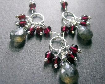 Labradorite Garnet Necklace, Labradorite Statement Necklace, January Birthstone
