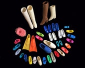 Vintage DOLL SHOES- Barbie Size- Small Plastic Rubber- Bright Colors- Pairs & Singles- Craft Lot- Repurpose Upcycle- Slipper Boots- More