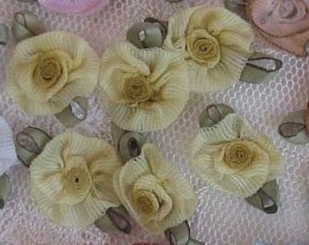 Fabric Flowers 72pc YELLOW Shabby Chic Baby Doll Costume Pageant Hair Bow Bridal Wedding Favor