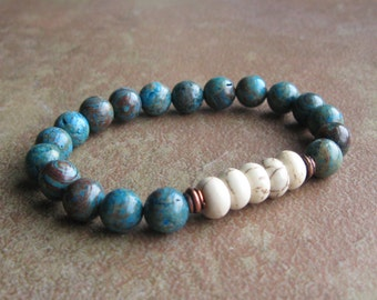 Blue Sky Jasper White Magnesite Stretch Bracelet