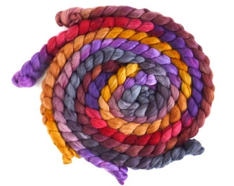 Colorway Collection, Organic Polwarth/ Cultivated Silk Roving (Top) - Handpainted Spinning or Felting Fiber, Tapestry
