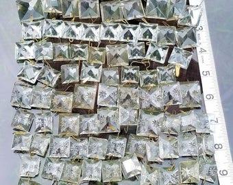 Antique Crystal Prisms, Square Crystal Prism Lot, Chandelier Prisms, Destash Prism Lot, Etched Crystal Prisms, Replacement Prisms