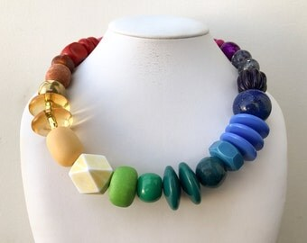 Necklace 2.32 - handmade beaded asymmetrical limited edition colorful rainbow spectrum statement necklace vintage lucite metal ceramic beads