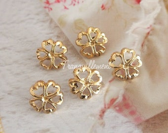 5 Small Retro Vintage Style Gold Golden Flower Shape Blazer Jacket Coat Sweater Metal Button 0.5 Inches / 1.3 cm