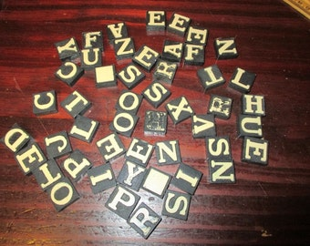 Lot of 49 Vintage Wooden Embossed Black Wood White Letters Anagram Tiles