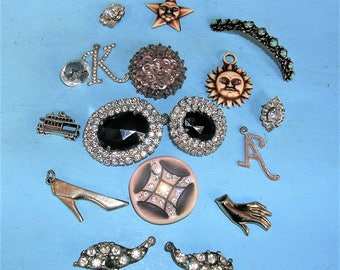 Vintage Antique Rhinestones, Rhinestone Clips, Charms, and Initials Steampunk Jewelry DIY Jewelry