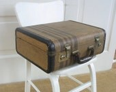 Vintage Small Case, Striped Suitcase, Brown Striped Case, Small Suitcase, Train Case, Child Case