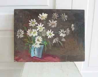 Vintage Floral Oil Painting, Flower Painting, Floral Painting, Vintage Art, Vintage Canvas Painting, Daisy Painting, White Flowers Painting