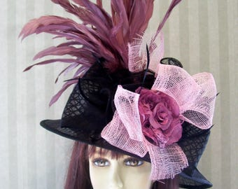 SALE Kentucky Derby Hat, Preakness Hat, BlaCk and MauVe Hat, Belmont Hat, Easter Hat, Ascot Hat, Victorian Hat, Downton Abbey Hat