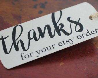 Set of 10 Etsy Thank You Tags, Heavyweight Cardstock, Hand Tied Jute Twine, mad4plaid