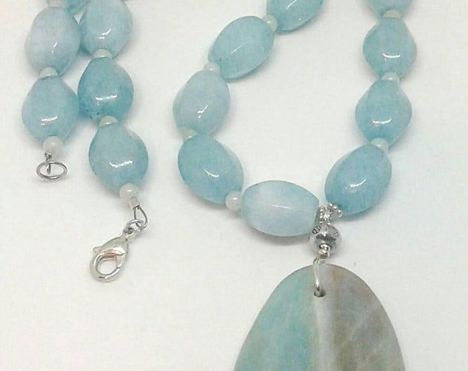 Item # 201722 Amilyn, Amazonite Necklace and Earrings Set, 20 Inches Long, Handcrafted, Handmade, Gem Stone Jewelry