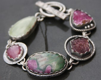 RESERVED oOo cobalto calcite, ruby, ruby in fuchsite, pink sapphire, prehnite, and sterling silver metalwork link bracelet