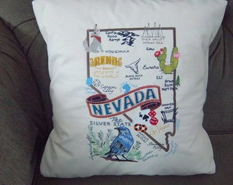 Embroidered State Map Pillow Nevada