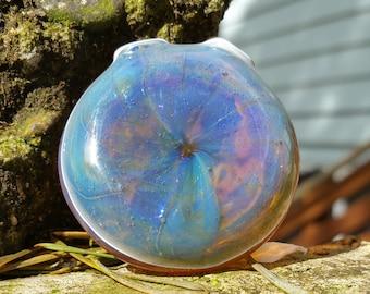 Amber Purple Lipwrap Encalmo Blown Glass Pendant