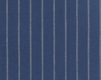"16"" Pinstripe Denim Toweling Blue | Kitchen Towel fabric | Moda 920 193"