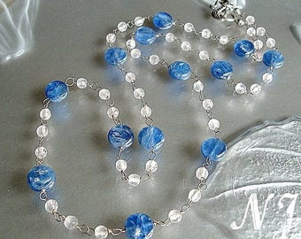 Blue Kyanite Rose Quartz Handmade chain rosary style necklace and earrings.