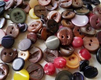 Vintage buttons, 83 assorted colors  mother of pearl,  dyed Jan306 17