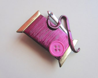 Sewing Needle and Thread Pin in burgundy brooch with pink button