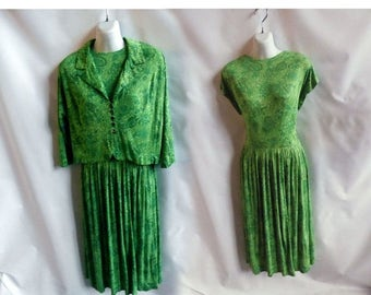 Vintage 50s Suit Dress Size L Green Atomic Jersey Jacket Mod Rockabilly 60s