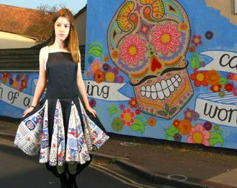 Day of the Dead Linen Swing Dress// Folklorico Baile de Calaveras// Sm Med// Upcycled// Black Multi Color// emmevielle