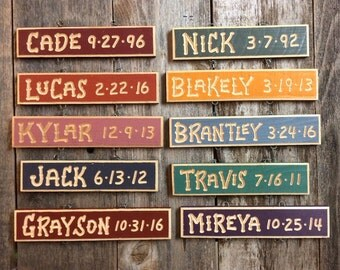 GRANDKIDS BIRTHDAY Name Date SIGNS  Carved Grandpa Grandma Wood Personalized Family Names