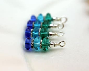 Green Blue and Aqua Bead Dangle Charm Set, Earrings, Earring Dangles, Anime