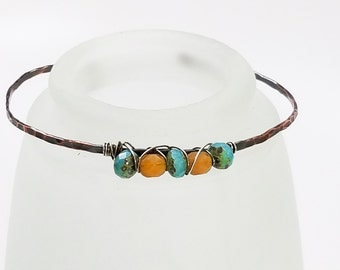 Hammered Copper Bracelet - Sky Blue Czech Faceted Rondelle Caramel Cream Czech Faceted Round
