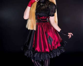 Harely Quinn Jumper- Harelyquin inspired Costume - Adult Halloween Lolita Cosplay Dress -  Comic Villian -Custom to your size