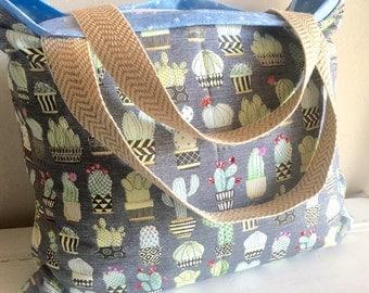 Cactus, Western, bag, tote, extra large bag, beach bag, beach tote, vacation tote, travel tote, reversible bag, reversible tote, diaper bag