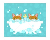 270D Cat Print - Two Tabby Cats in Bubble Bath Wall Art - Cat Wall Art - Cat Home Decor - Cat Prints - Bathroom Art - Cat Bath Print