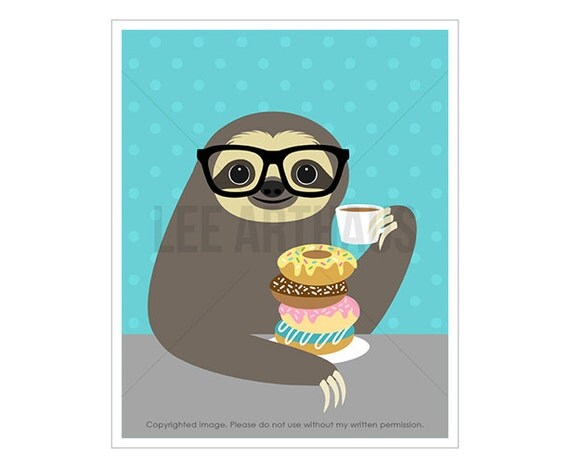 3J Sloth Drawing - Sloth Eating Stack of Donuts Wall Art - Donut Print - Donut Wall Art - Coffee and Donuts - Children Wall Art - Kids Art