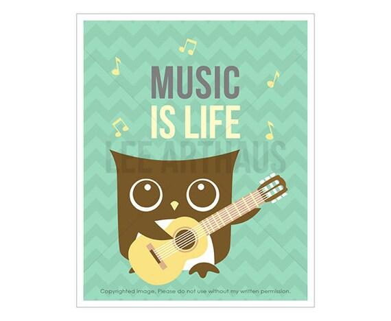 10T Owl Nursery Print - Music is Life - Guitar Owl Wall Art - Guitar Decor - Owl Playing Guitar Print - Guitar Wall Art - Inspirational Art