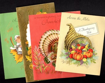 Vintage Thanksgiving Greeting Cards - Lot of Four