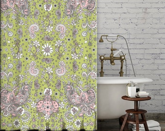 Shower Curtain Green Pink Floral bohemian shower curtain shabby chic bathroom accessories floral hippy shower curtain colorful boho curtain