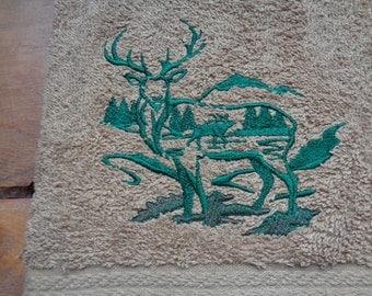 Elk Woodland Scene on Light Brown Terry Hand Towel Set