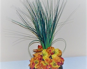 Wedding centerpiece Flower Burnt Orange and Yellow  Orchid Centerpiece Decoration silk flower table centerpiece