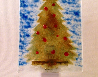 Fused Glass Stencil Evergreen Tree with Red Berries LED Nightlight