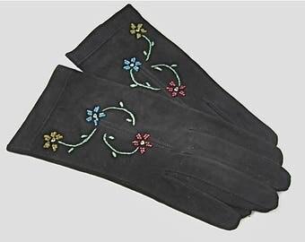 Vintage Black Suede Ladies Gloves