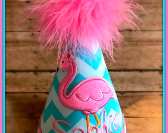 Flamingo Birthday Hat,  You Choose Colors, Embroidered, Monogram, Boutique Quality  by GINGHAM BUNNY EMBROIDERY