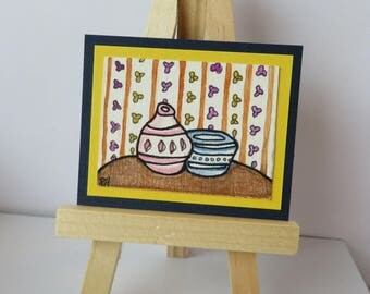 "Kitchen Table Miniature Painting Watercolor and Colored Pencil Original Art 2"" wide X 1-1/2"" tall for dollhouse"