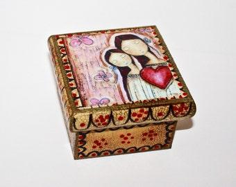 Un Solo Corazón - Mother Daughter Love -  Original Mixed Media Handmade Jewelry Box Folk Art by FLOR LARIOS