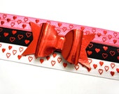 SALE Valentine's Day Headband | Faux Leather Bow | Metallic Print Elastic | Heart Print Elastic