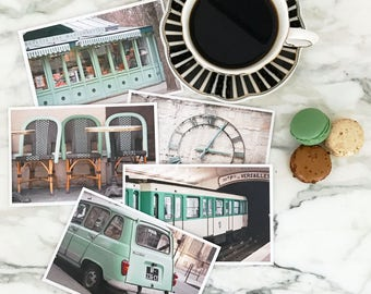 Paris Postcard Set, Green Travel Postcards 4x6 Art Print, Apartment Decor, Paris Print l Set, College Student Gift for Her Stocking Stuffer