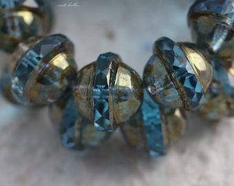 BRONZED AQUA BLISS .. 10 Picasso Czech Glass Saturn Beads 10x12mm (5514-10)