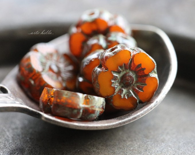 MANGO BLOOMS No. 1 .. 6 Picasso Czech Glass Flower Beads 10mm (5079-6)
