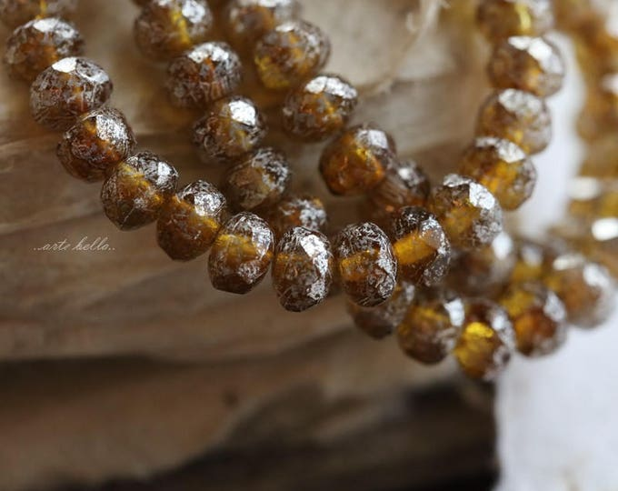 SILVERED AMBER BABIES .. 30 Picasso Czech Rondelle Glass Beads 3x5mm (5700-st)